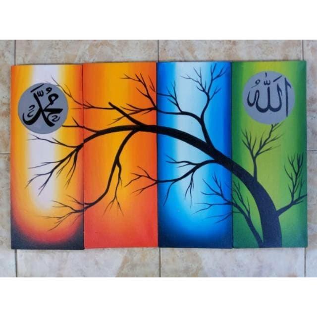 Jual Lukisan Kaligrafi Ranting Pohon Warna Warni Kab Gianyar Toko Seni Bali Tokopedia