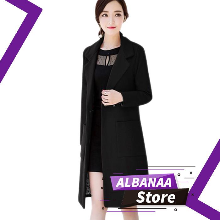 harga Jaket wanita korea xl blazer wanita wedges pocket long coat murah Tokopedia.com