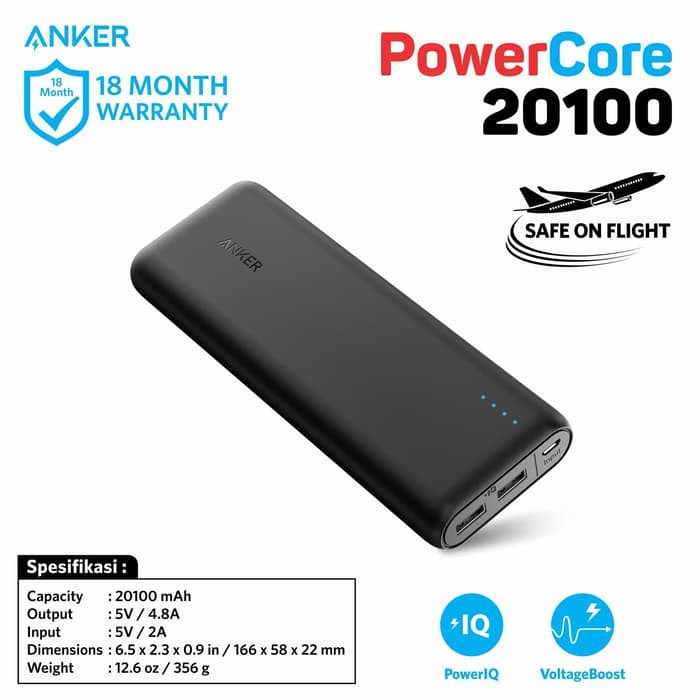 Anker powercore 20100 mah - black [a1271h12] powerbank original