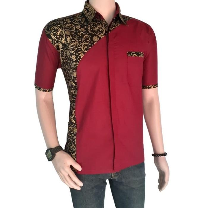 Jual Model Baju Batik Pria Lengan Pendek Kombinasi Prada Pekalongan Kota Pekalongan Kios Abang Tokopedia