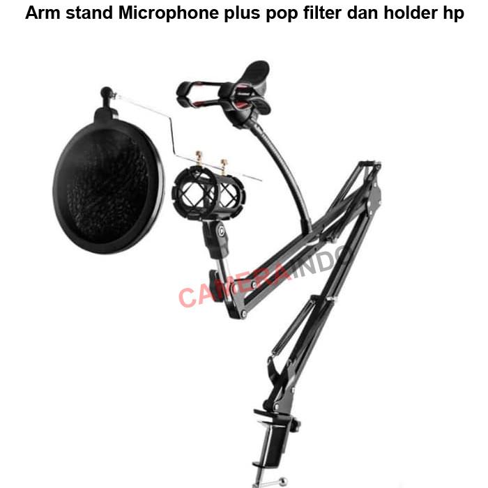 harga Arm stand microphone plus pop filter dan holder hp Tokopedia.com