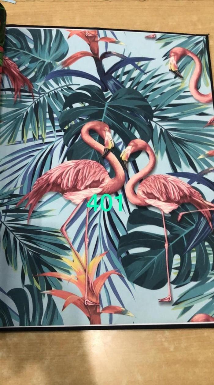 Jual KOMPLIT Wallpaper Dinding Motif Burung Flamingo Kuning Hijau Biru Jakarta Pusat Suwondotoko