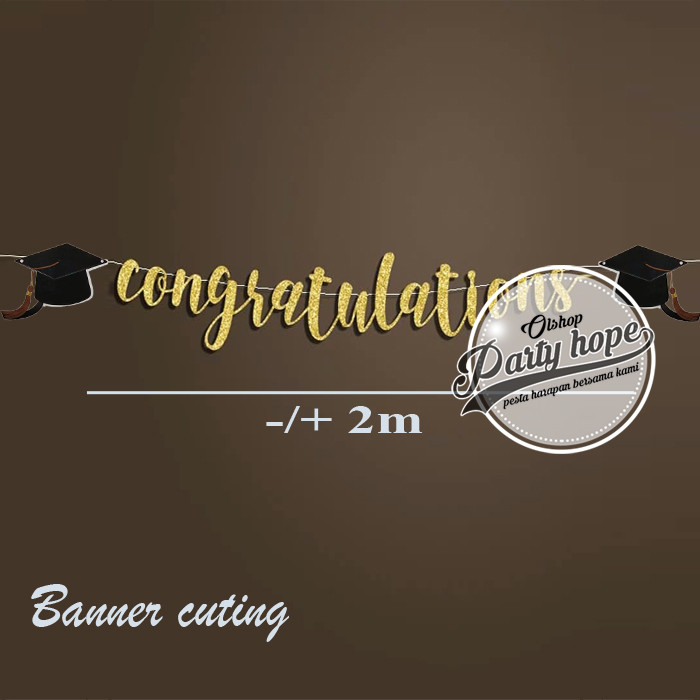 Foto Produk baner wisuda / banner cutting congratulations / baner graduation gold dari PARTY HOPE 2