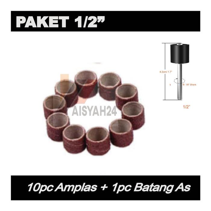 """Foto Produk Paket 10pc Amplas I Ampelas Drill Drum Grinder 1/2"""" dan 1pc Batang As dari Toko Aisyah24"""