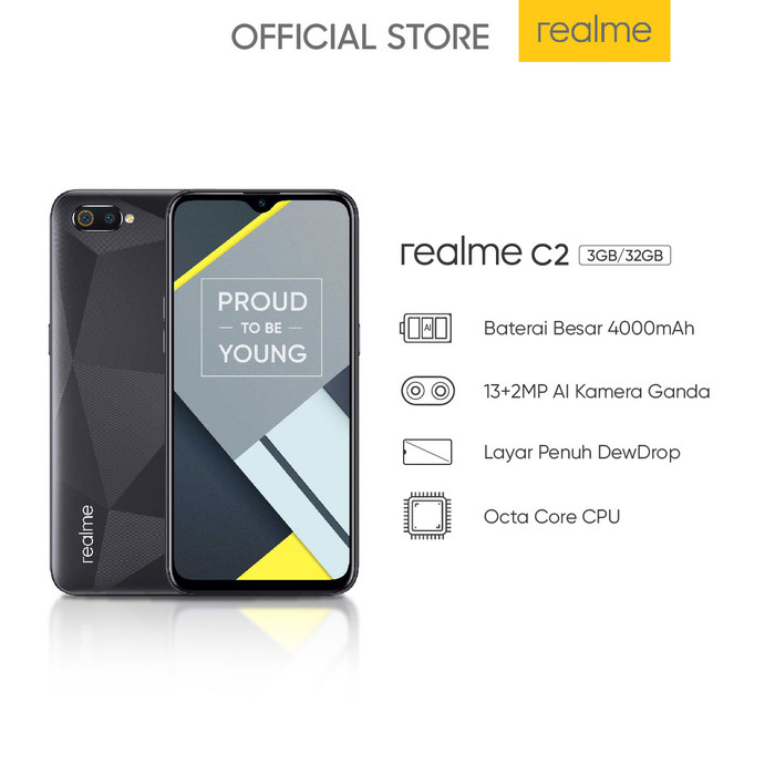 harga Realme c2 3/32 ram 3gb rom 32gb garansi resmi realme indonesia - biru Tokopedia.com
