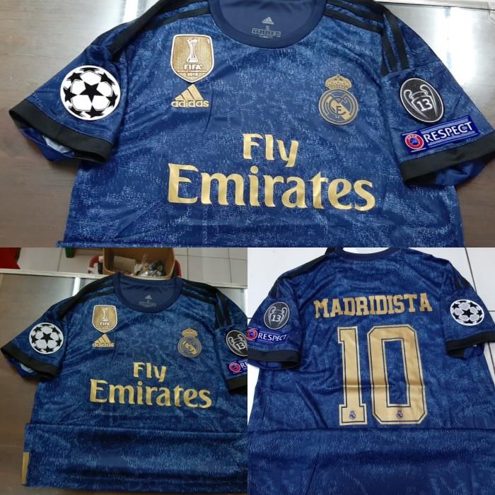 harga Jersey baju bola real madrid away 19/20 fullpatch ucl + nameset grade Tokopedia.com