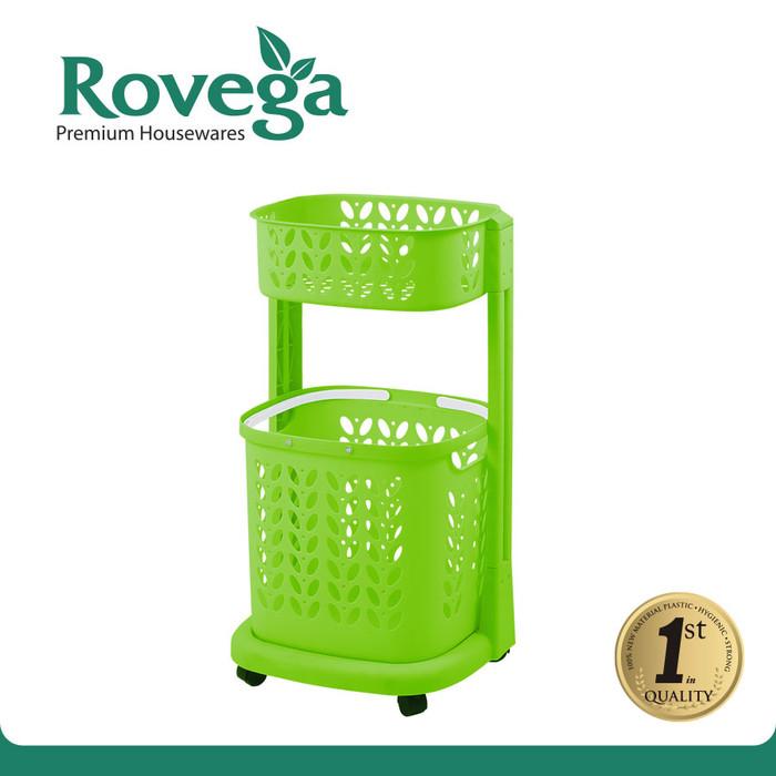 harga Rovega keranjang pakaian plastik premium laundry basket 2 level hijau Tokopedia.com