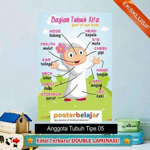 Jual Tipe 05 Poster Pendidikan Belajar Anggota Tubuh Anak Muslim Perempuan Jakarta Barat Random Shop N Tokopedia