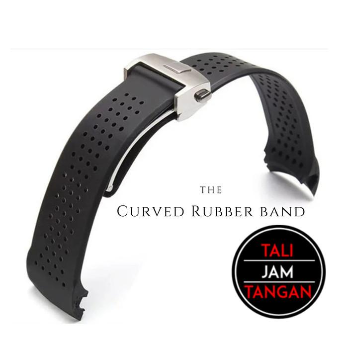 Jual 22mm, 24mm Curved Rubber Band Tali Jam Tangan Karet - Kota ...
