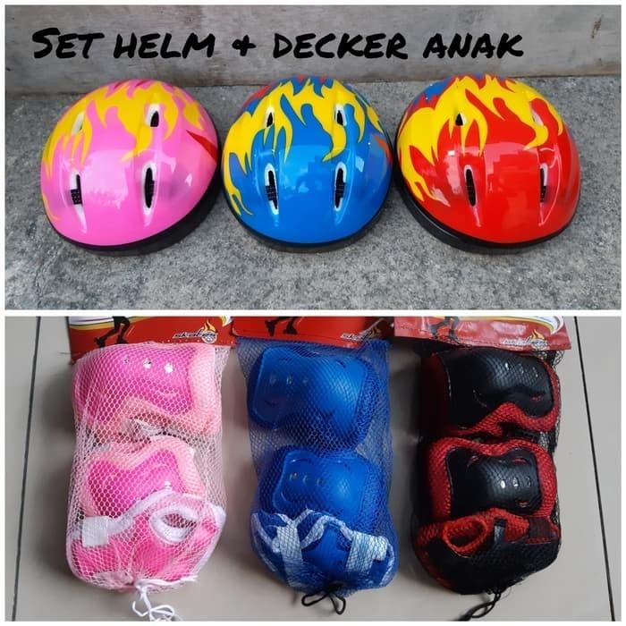 harga Set helm sepeda sepatu roda anak & dekker lutut - deker siku - decker Tokopedia.com