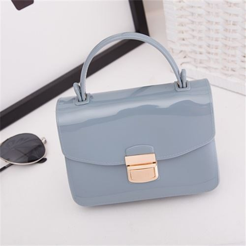 Foto Produk Ready Stok-JTF1088-lightblue Tas Pesta Jelly Glossy Import Cantik dari AlMirah Olshop