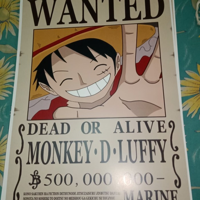 One Piece Luffy Anime Dictionary Art Print Poster Wanted Picture Manga Book