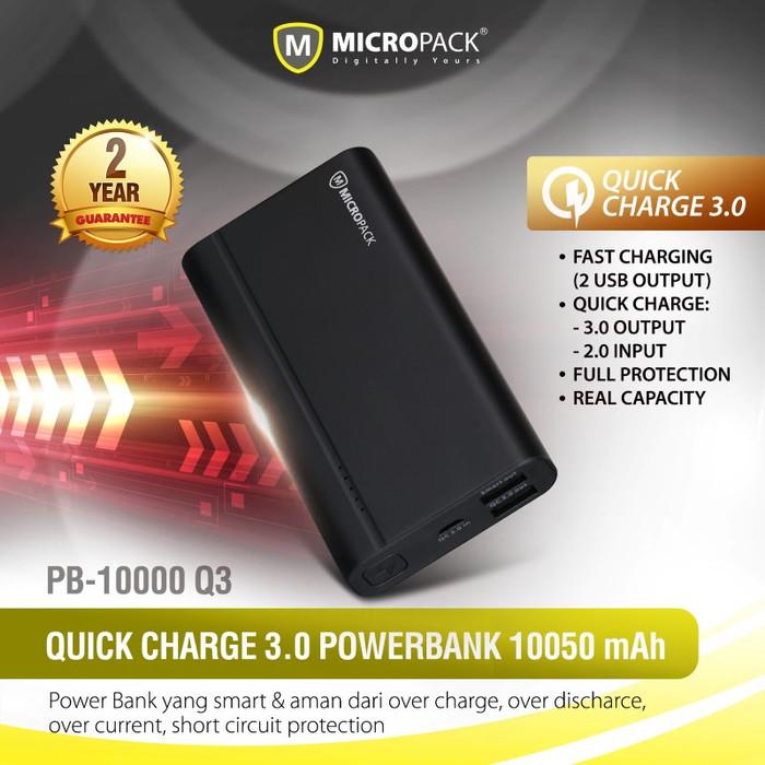 harga Micropack powerbank 10.000 mah quick charge 3.0 pb-10000q3 - emas Tokopedia.com