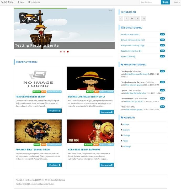 Jual HOT SALE Membuat Website Portal Berita dengan Codeigniter, Bootstrap &  - DKI Jakarta - Muhammad Arief 321 | Tokopedia