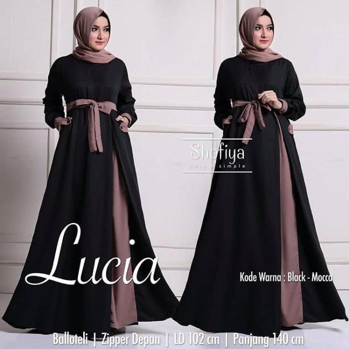 Foto Produk Baju Gamis Wanita Muslim Terbaru Lucia Dress Polos Syari Murah dari hijabafwa