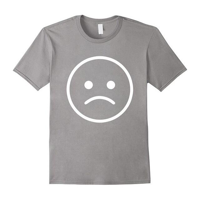 Jual Teps T Shirts Pria Baju Emoji Sad Frowning Face Abu Abu