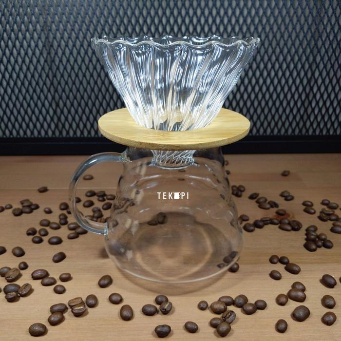 Foto Produk TEKOPI V60 Dripper Glass Wood ARARA Filter Dripper Gelas Kayu uk 01 02 dari tekopi.id