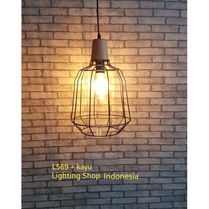 harga L569 + kayu lampu gantung hias bentuk sangkar burung minimalis Tokopedia.com