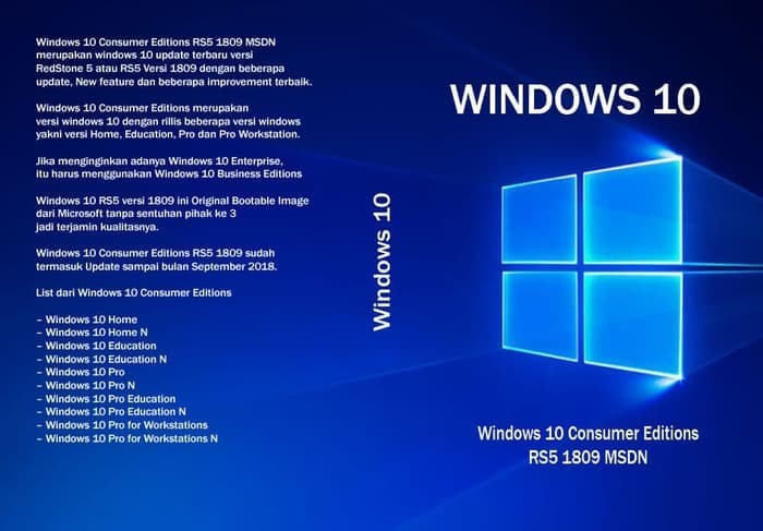 Jual Windows 10 Consumer Editions RS5 1809 Feb 2019 MSDN - 32BIT - Jakarta  Selatan - GarnetX Shop | Tokopedia