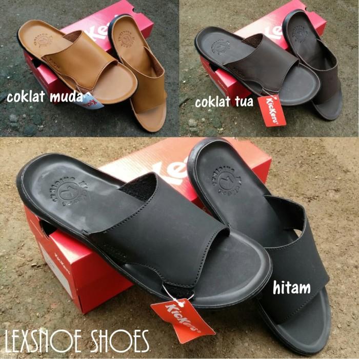 Foto Produk terlaris sandal pria kickers sendal kickers kulit lembut - Hitam, 39 dari lexsnoe shoes