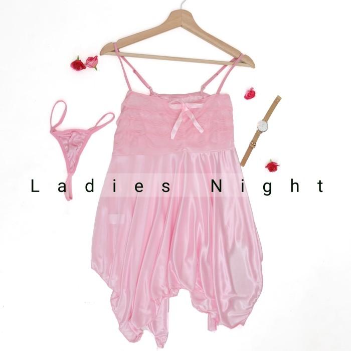Foto Produk Pink Candy Nikkie Sexy Nightdress Lingerie -Black Laces +Gstring - Putih dari Ladies Night
