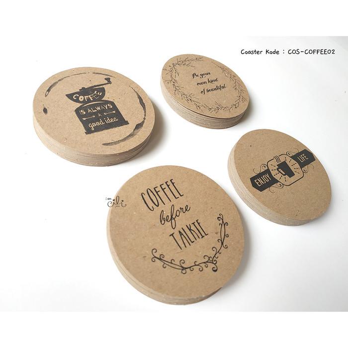 Foto Produk (COS-COFFEE02) coaster tatakan gelas mug kopi unik kraft coklat dari i am CiLi