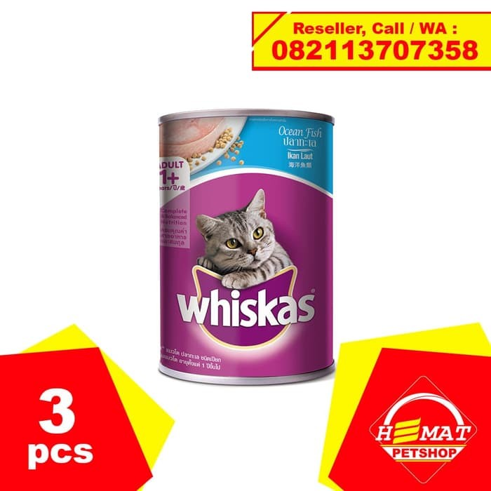 Jual Makanan Kucing Whiskas Ocean Fish 400 Gram 3 Kaleng 400gram