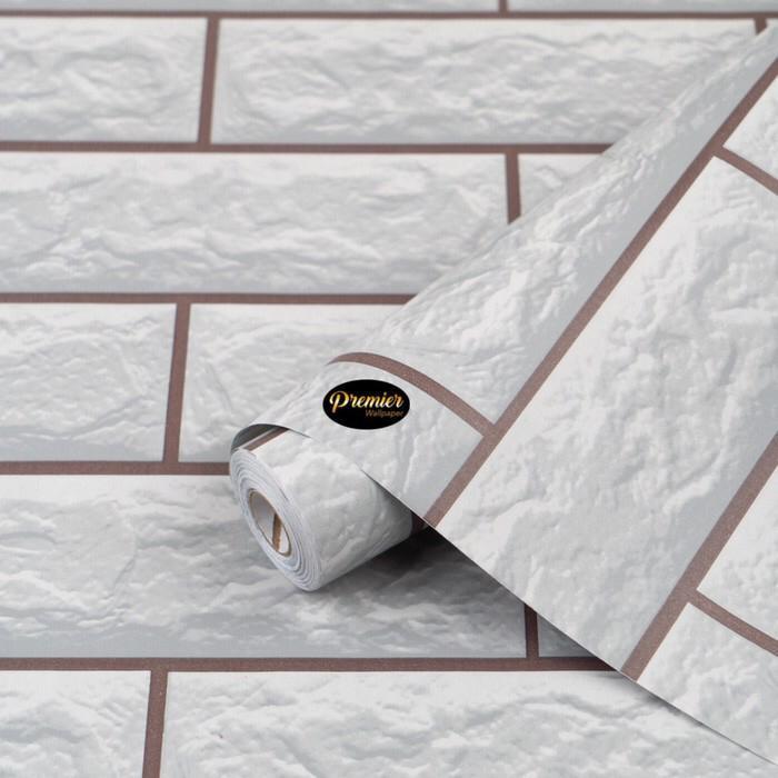 Foto Produk 3D Bata Putih Wallpaper |45CM x 10M dari Premier Wallpaper