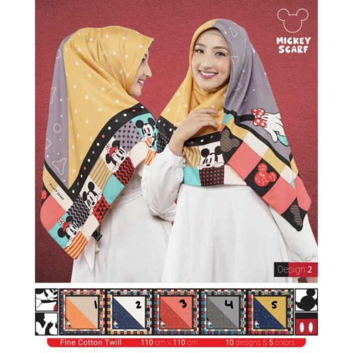 Segiempat paris two tone / jilbab 2 motif bunga / hijab kerudung