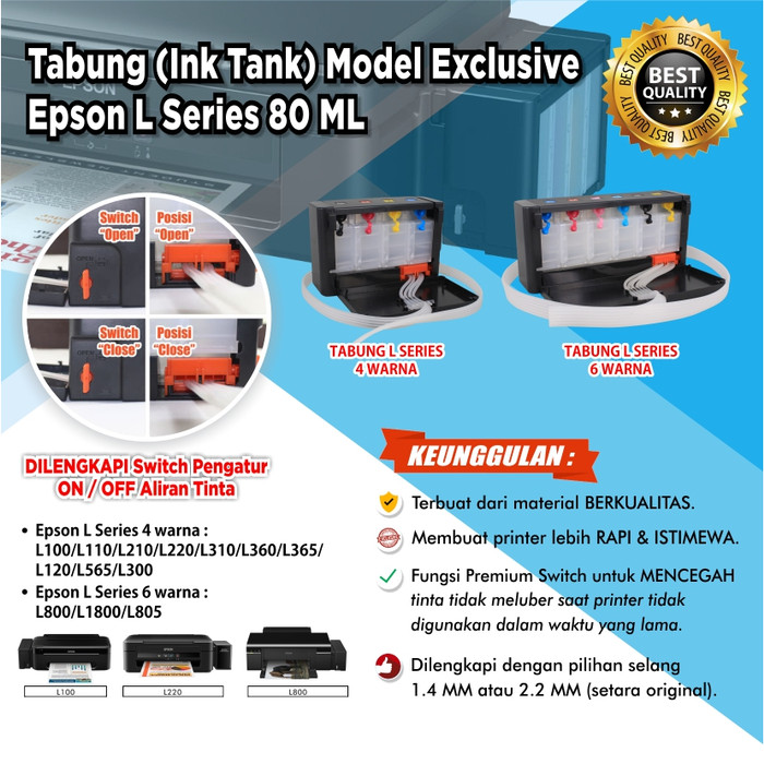 harga Tabung model l850 l1800 exclusive premium switch 80ml + selang 14 mm Tokopedia.com