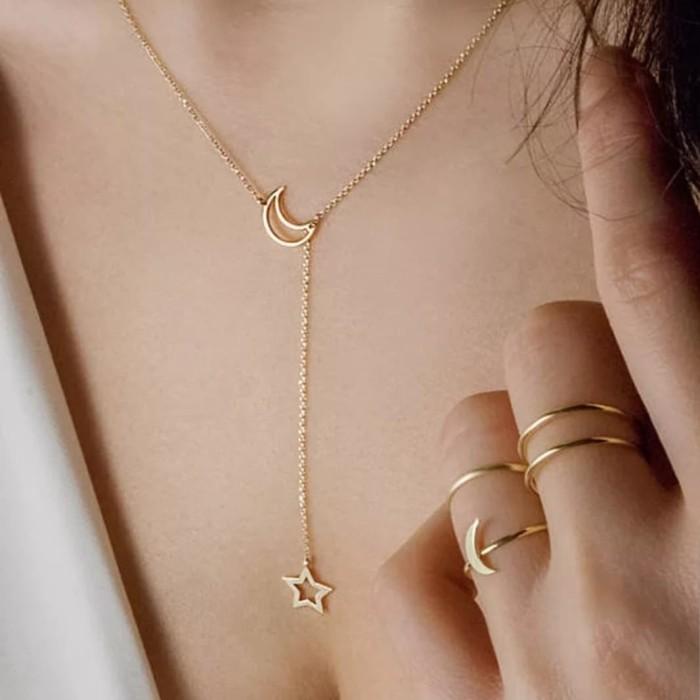 Foto Produk Kalung/liontin/necklace bulan sabit bintang - Gold dari tyn-id