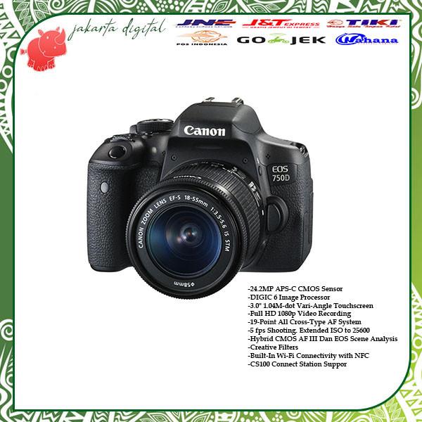 harga Jakarta digital canon eos 750d lensa 18-55 is stm - kamera 750 d Tokopedia.com