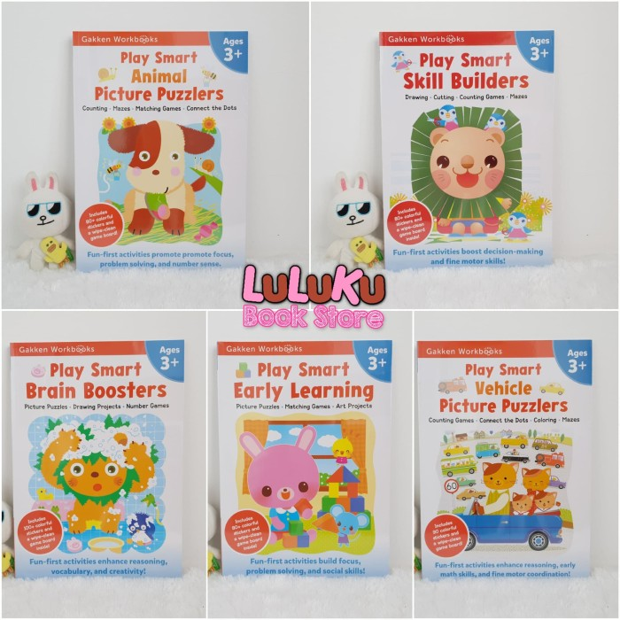 Foto Produk Satu Set isi 5 buku Gakken Workbook Workbooks Play Smart 3+ dari LuLuKu Book Store
