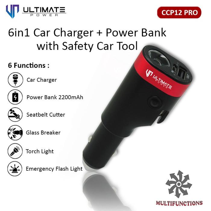 harga Ultimate power ccp12 pro 6in1 car charger + powerbank 2200mah Tokopedia.com