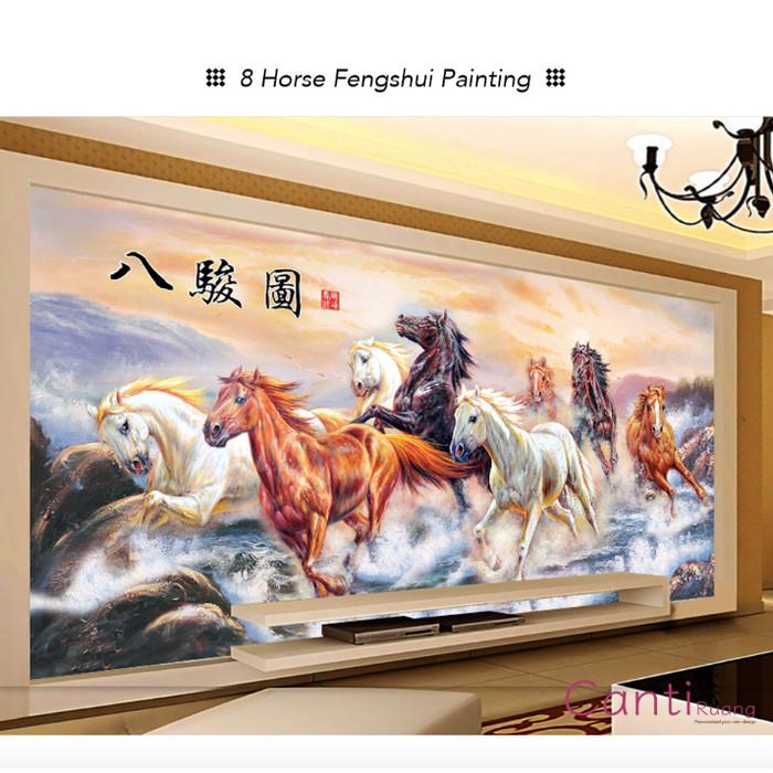 Jual Wallpaper Custom Printing 3d 8 Horse Chinese Painting Kota