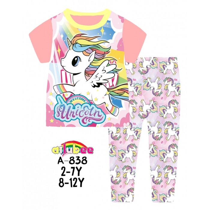 harga Piyama baju tidur anak perempuan ailubee kaos unicorn pink peach 8-12t Tokopedia.com