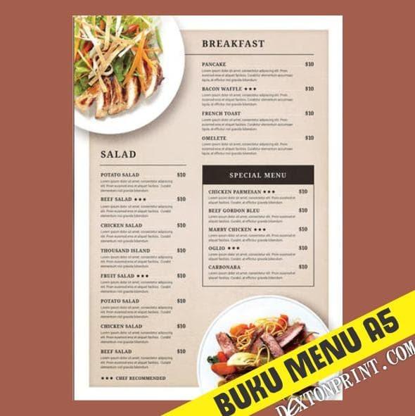 Jual New Cetak Buku Menu Restoran Ukuran A5 Jilid Spiral Bisa