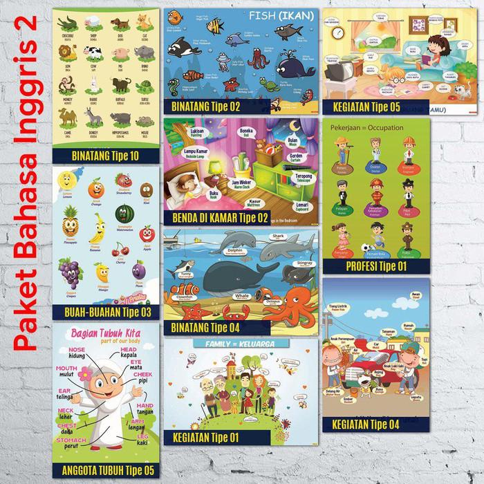 Jual Tipe 2 Paket Isi 10 Poster Pendidikan Belajar Bahasa Inggris Untuk Ana Kota Bekasi Poster Belajar Eksklusif Tokopedia