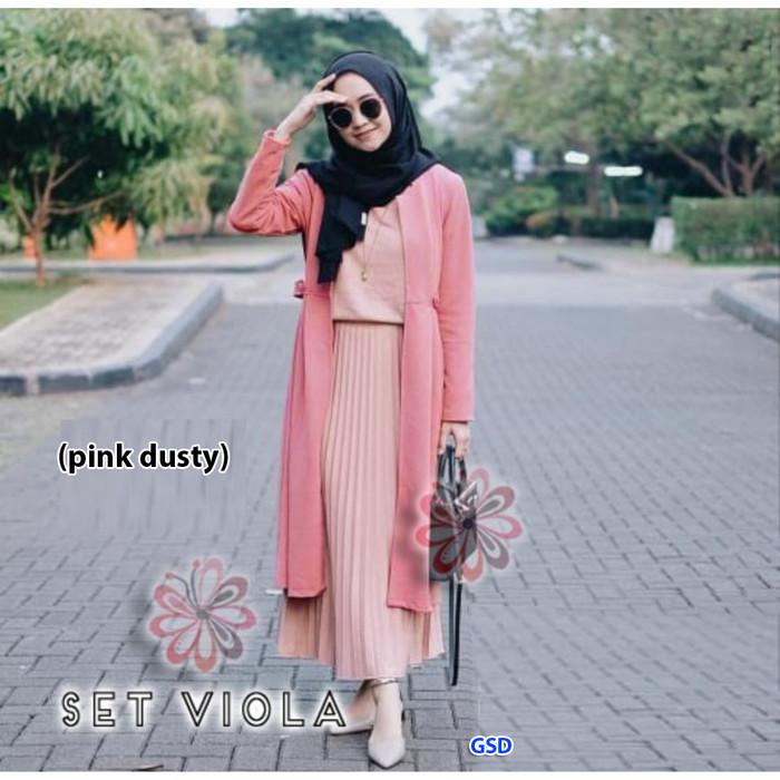 Foto Produk Setelan baju muslim+cardi /Fashion muslim Terbaru-set viola - Maroon dari www.grosirdress.com