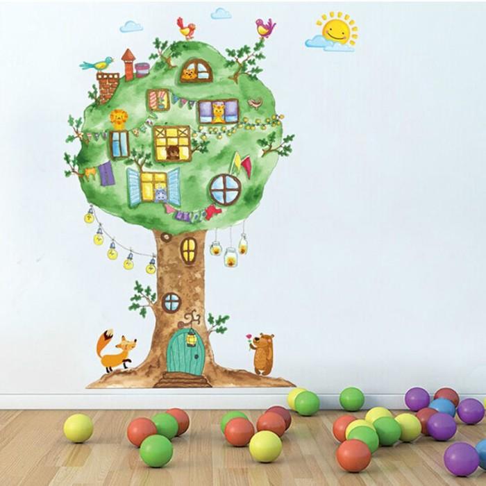 Jual Cartoon Tree House Wall Sticker Baby Room Wall Decoration Art Deca Jakarta Barat Soraya Mall Tokopedia