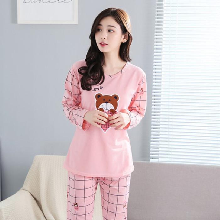 Foto Produk Baju Tidur Santai Piyama Fashion Wanita Dewasa Bear Love Kaos Impor dari SJLA Store