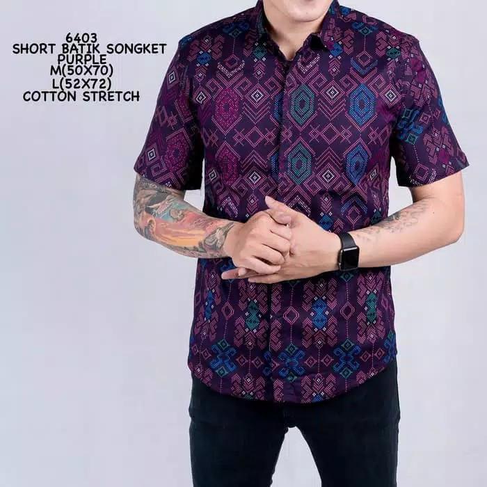 Foto Produk Kemeja Batik songket Pria Lengan Pendek Best Seller/Murah Keren Modern - Hijau, M dari jasmine sweater