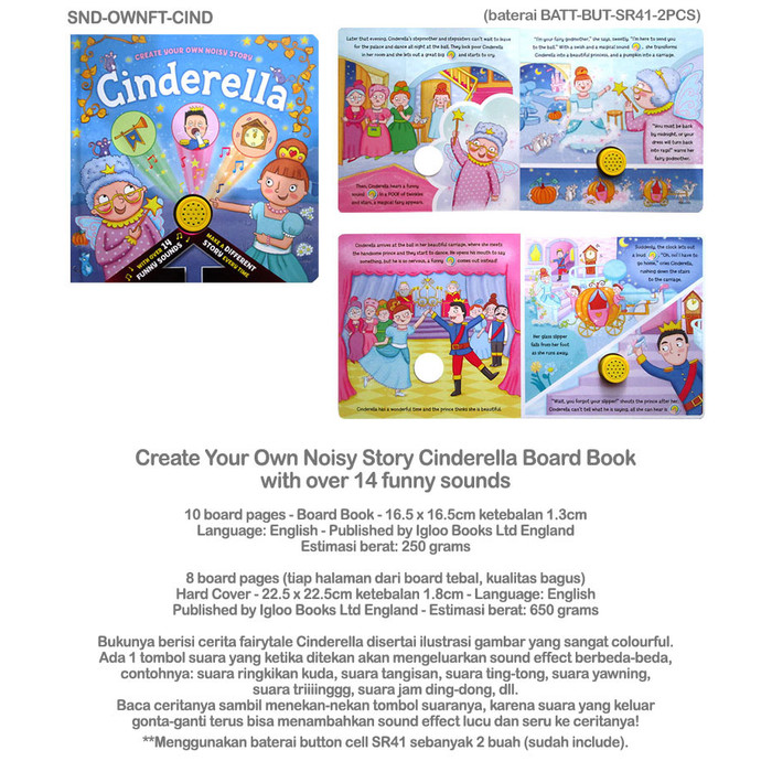 Jual (SALE!!) Create Your Own Noisy Story Cinderella Board Book with over 1  - DKI Jakarta - BukuMiawMiaw | Tokopedia