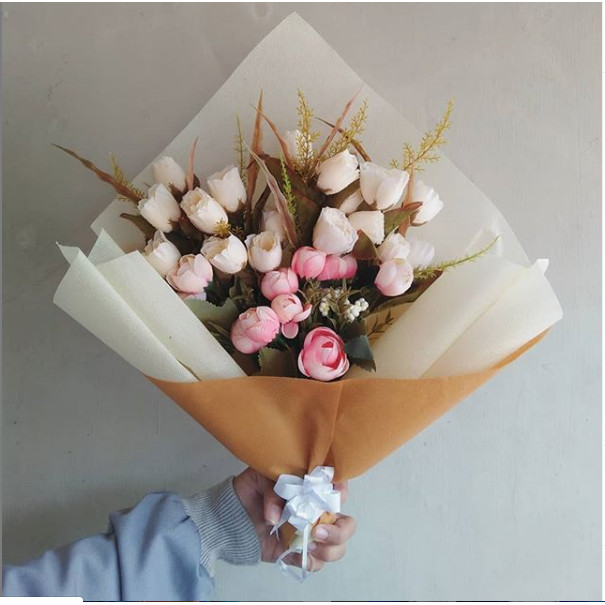 Jual Buket Bunga Mawar Pink Cantik Kab Purworejo Frista Agustin Tokopedia
