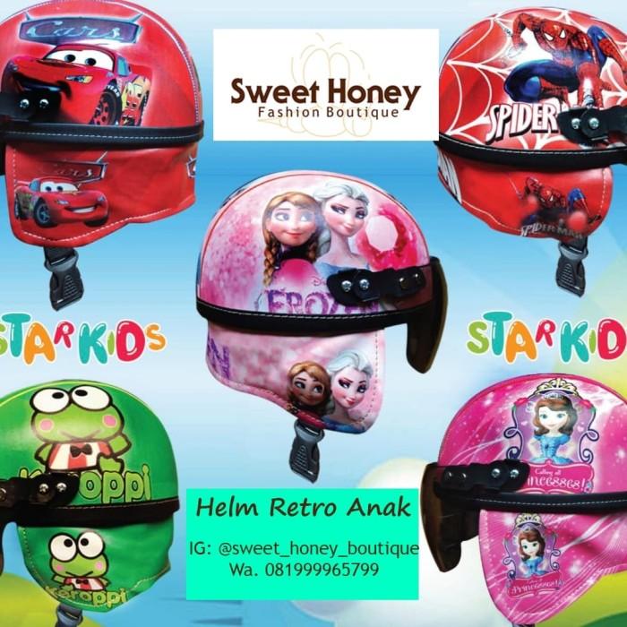 harga Helm anak retro karakter sofia cars spiderman lol pony hello kitty Tokopedia.com
