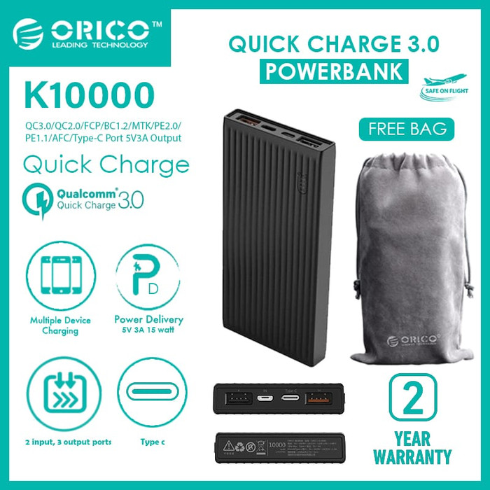 Fs orico k10000 10000mah universal fast charging power bank - hitam