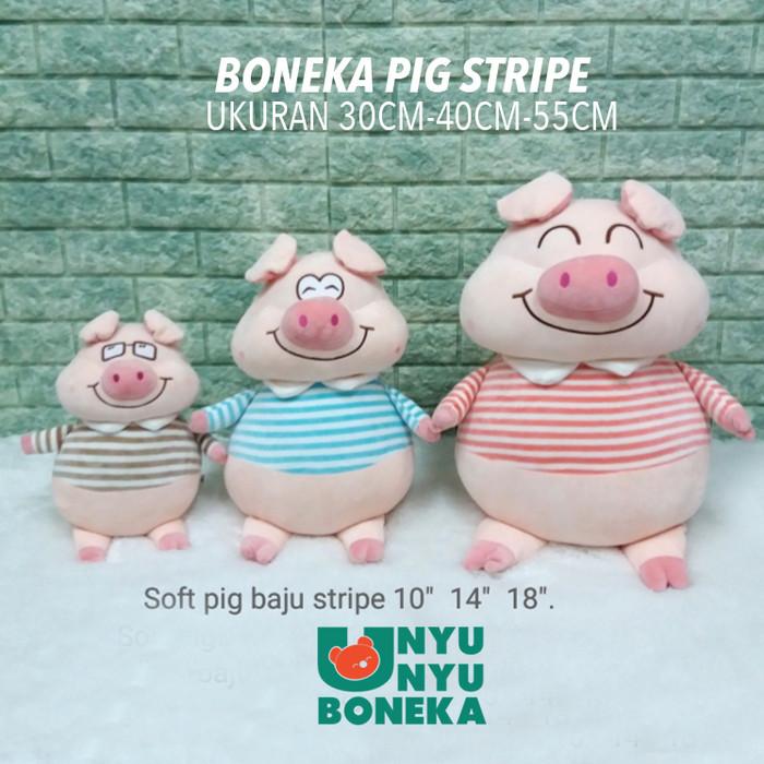 Foto Produk Boneka Pig 40CM animal tshirt stripe import animal babi kado ultah dari unyu-unyu boneka