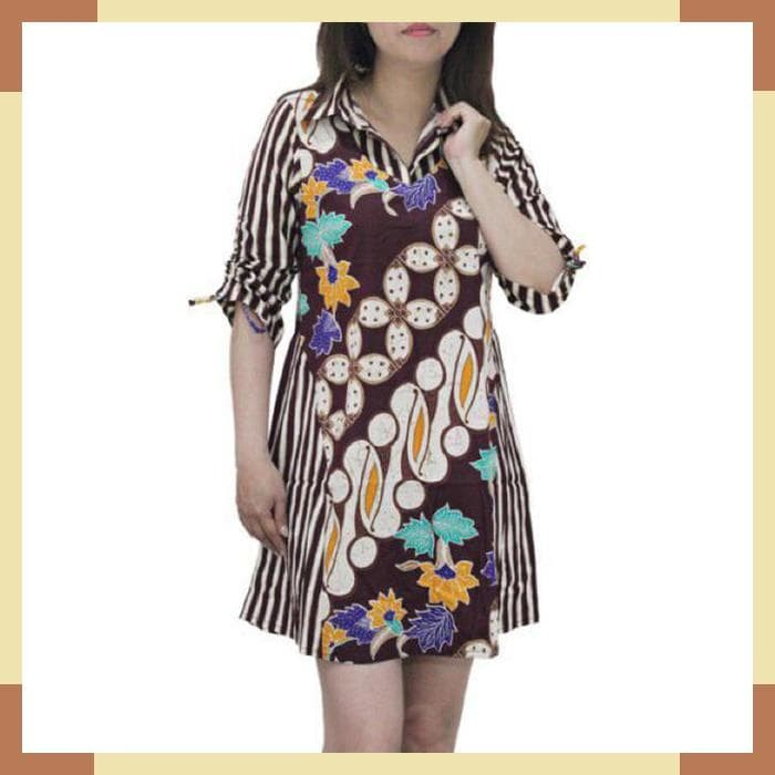 Jual Gf887 Dress Batik Wanita Lengan Panjang Model Serut Kombinasi Garis Kab Cirebon Idn Fashion Tokopedia