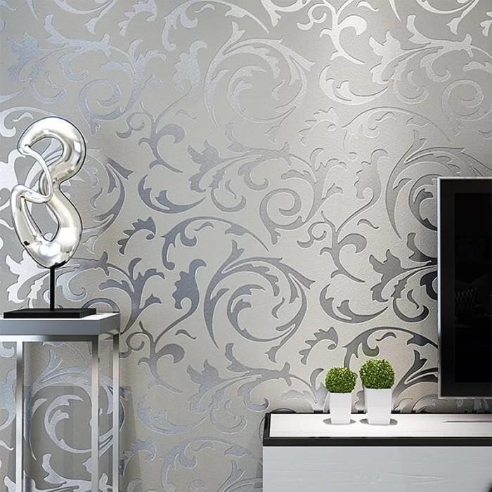 Jual Grey 3d Victorian Embossed Wallpaper Roll Home Decor Living Room Silver Kota Tangerang Selatan Sambal Nona Manis Tokopedia