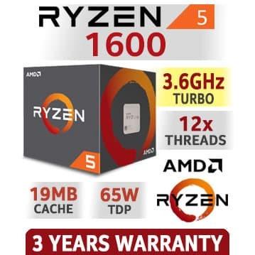 AMD RYZEN 5 1600 6-Core 3.2 GHz 3.6 Turbo Socket AM4 65W Desktop Processor